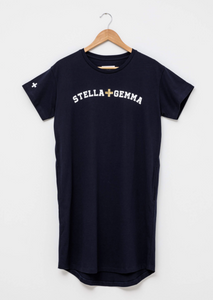 Navy Dress with White Logo, Gold Cross