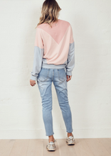 Load image into Gallery viewer, The Panelled Sweat Dark Pink/Pink/Dirty Blue