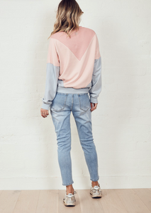 The Panelled Sweat Dark Pink/Pink/Dirty Blue