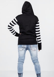 Hooded Sweatshirt Black With Black & White Stripe Sleeves & X Print