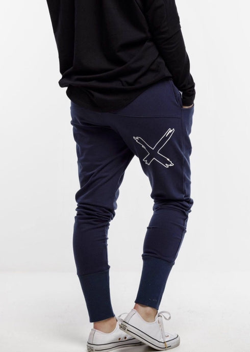 Apartment Pant Navy With X Outline Print