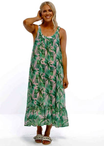 Piha Dress Tropical Palm Print