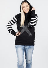 Load image into Gallery viewer, Hooded Sweatshirt Black With Black & White Stripe Sleeves & X Print