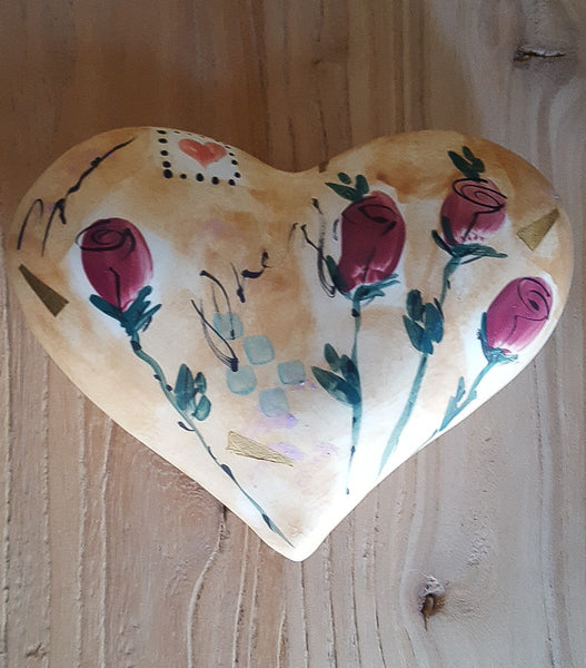Hand-painted Heart with Roses