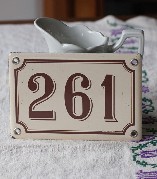 French Enamel Street Number 261