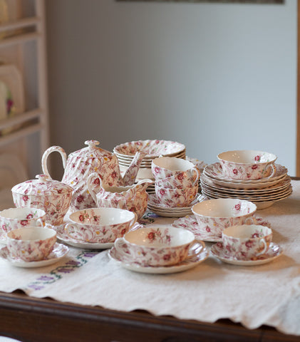 Spode Rosebud Chintz Dishes - SET OF 38