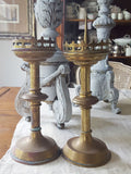 Church Brass Candlesticks, short, Set of 2