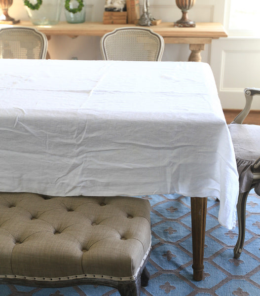 Monogrammed Linen Tablecloth #5