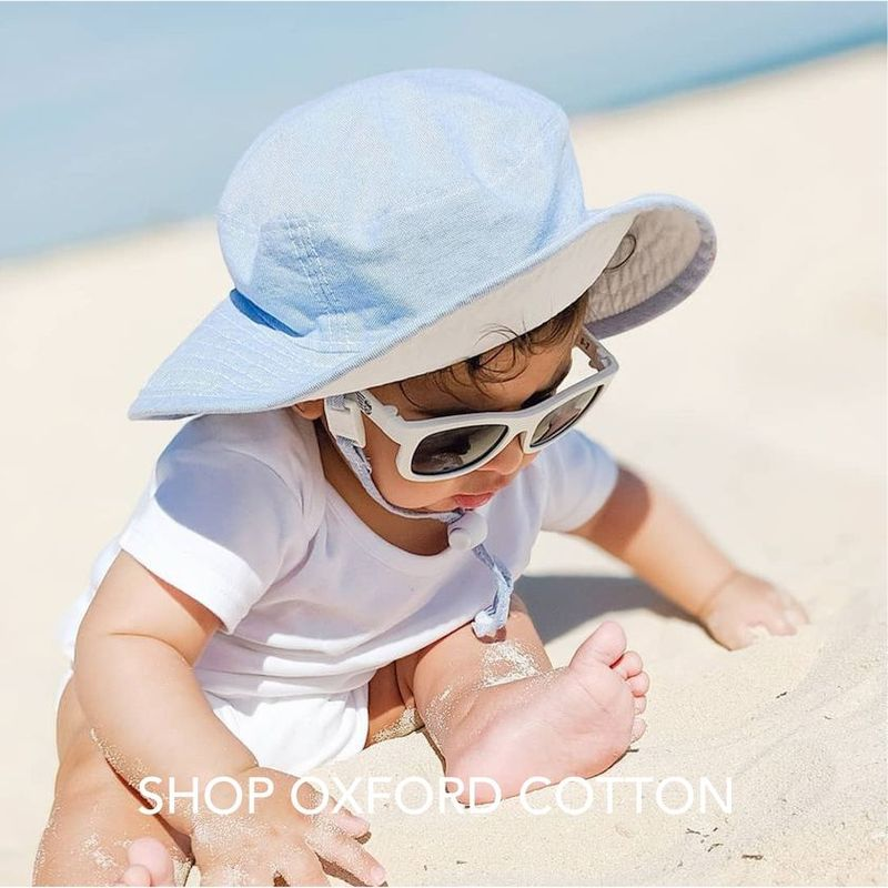 Puffin Gear Classic Oxford Cotton Wide Brim Sunbaby Hat with UPF50 Sun Protection-Made in Canada