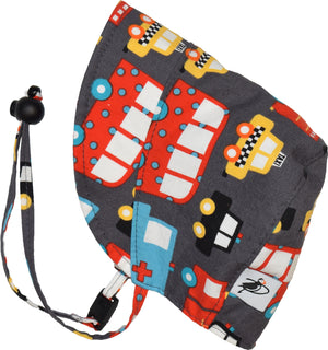Puffin Gear UPF50 Sun Protection Infant and Toddler Bonnet SALE-Emergency Vehicles