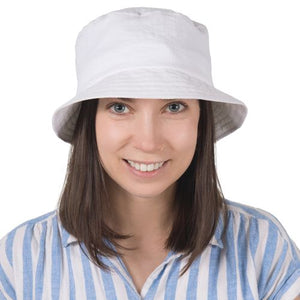 Puffin Gear Patio Linen UPF50 Sun Protection Bucket Hat-Made in Canada -White