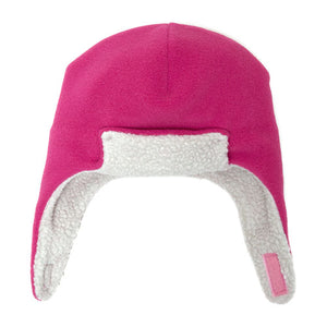 Puffin Gear Polartec Classic 200 Series Fleece Rolled Brim Kids Aviator Hat with Chin Wrap Closure-Made in Canada-Azalea