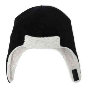 Puffin Gear Polartec Classic 200 Series Fleece Rolled Brim Kids Aviator Hat with Chin Wrap Closure-Made in Canada-Black