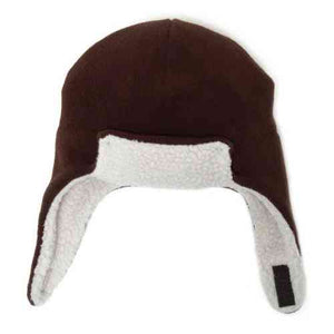 Puffin Gear Polartec Classic 200 Series Fleece Rolled Brim Kids Aviator Hat with Chin Wrap Closure-Made in Canada-Cocoa