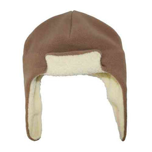 Puffin Gear Polartec Classic 200 Series Fleece Rolled Brim Kids Aviator Hat with Chin Wrap Closure-Made in Canada-Latte