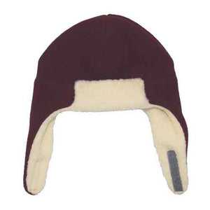 Puffin Gear Polartec Classic 200 Series Fleece Rolled Brim Kids Aviator Hat with Chin Wrap Closure-Made in Canada-Maroon