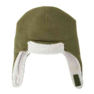 Puffin Gear Polartec Classic 200 Series Fleece Rolled Brim Kids Aviator Hat with Chin Wrap Closure-Made in Canada-Olive