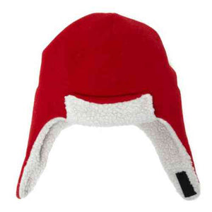 Puffin Gear Polartec Classic 200 Series Fleece Rolled Brim Kids Aviator Hat with Chin Wrap Closure-Made in Canada-Red