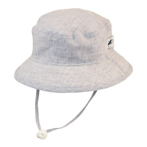 Puffin Gear Summer Day Linen UPF50+ Sun Protection Child Camp Hat-Grey Check