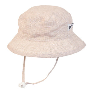 Puffin Gear Summer Day Linen UPF50+ Sun Protection Child Camp Hat-Natural Check