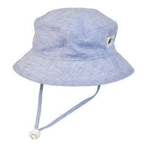 Puffin Gear Summer Day Linen UPF50+ Sun Protection Child Camp Hat-Navy Check