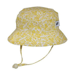 Puffin Gear Child UPF50+ Sun Protection Camp Bucket Hat-Made in Canada-Liberty of London Trellis Vine Gold