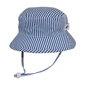 Puffin Gear Child UPF50+ Sun Protection Camp Bucket Hat-Made in Canada-Natty Blue Stripe