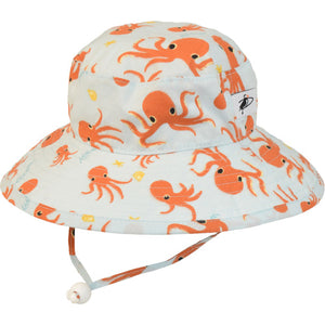 Puffin Gear Organic Cotton UPF50+ Sun Protection Wide Brim Child Sunbaby Hat-Octopus