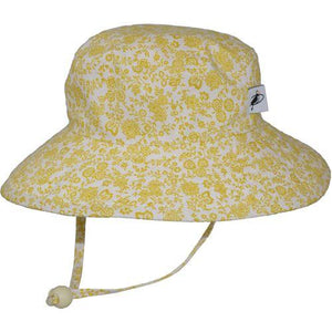 Puffin Gear Child UPF50 Sun Protection Wide Brim Sunbaby Hat-Liberty of London Trellis Vine Gold