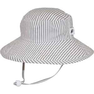 Puffin Gear Child UPF50 Sun Protection Wide Brim Sunbaby Hat-Grey Stripe
