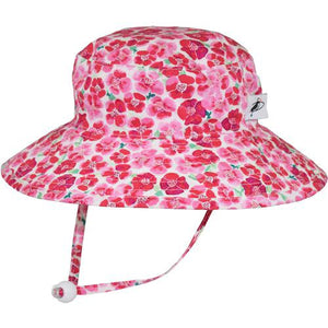Puffin Gear Child UPF50 Sun Protection Wide Brim Sunbaby Hat-Flower Crush