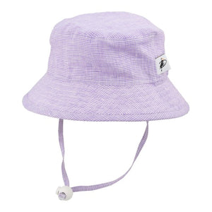 Puffin Gear Summer Day Linen UPF50+ Sun Protection Child Camp Hat-Lavender Check