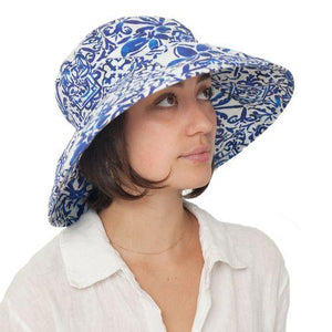 Puffin Gear UPF50 Sun Protection Wide Brim Classic Hat-Courtyard Garden-Mosaic-Made in Canada
