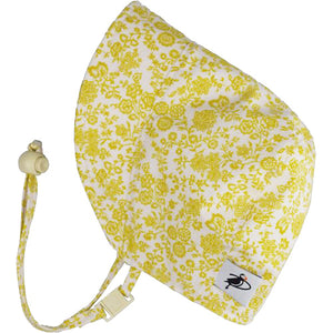 Puffin Gear UPF50+ Sun Protection Infant and Toddler Bonnet-Made in Canada-Liberty of London-Trellis Vine-Gold