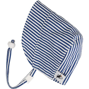 Puffin Gear UPF50+ Sun Protection Infant and Toddler Bonnet-Made in Canada-Seaside-Blue Natty Stripe