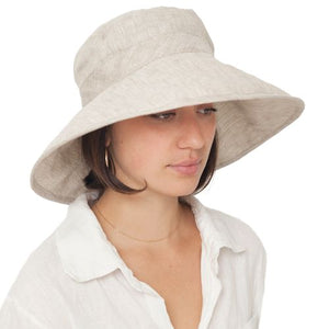 Puffin Gear Linen Chambray UPF50+ Sun Protection Wide Brim Classic Hat-Made in Canada-Almond