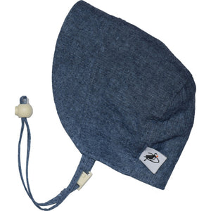 Puffin Gear Infant and Toddler Fall Linen Canvas Bonnet with Flannel Lining-Made in Canada-Navy