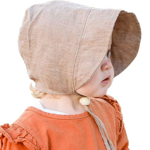 Puffin Gear Infant and Toddler Fall Linen Canvas Bonnet with Flannel Lining-Made in Canada