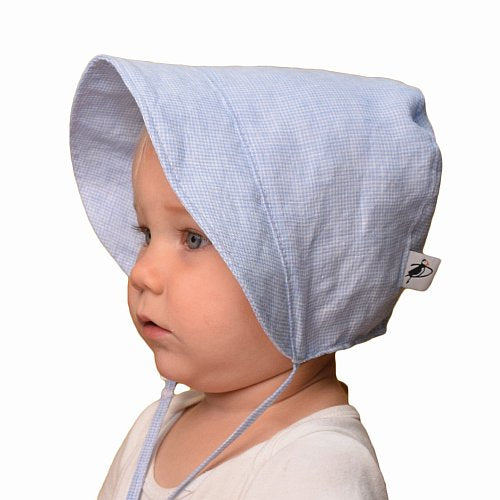 Puffin Gear Linen Infant and Toddler Bonnet-UPF50 Sun Protection-Made in Canada-Sky Blue Check