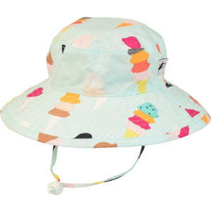 Puffin Gear Child UPF50 Sun Protection Wide Brim Sunbaby Hat-Triple Scoop Ice Cream Cones