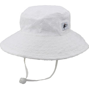 Puffin Gear Child UPF50 Sun Protection Wide Brim Sunbaby Hat-White Eyelet Lace