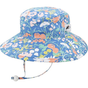 Puffin Gear Organic Cotton UPF50+ Sun Protection Wide Brim Child Sunbaby Hat-Flower Bed