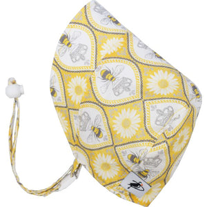 Puffin Gear UPF50+ Sun Protection Infant and Toddler Bonnet-Made in Canada-Pollinator Garden-Queen Bee