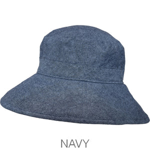 Puffin Gear Linen Tweed Fall Garden Hat-Navy-UPF50+ Sun Protection-Made in Canada