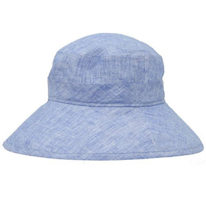 Puffin Gear Linen Chambray UPF50+ Sun Protection Wide Brim Garden Hat-Made in Canada-Indigo