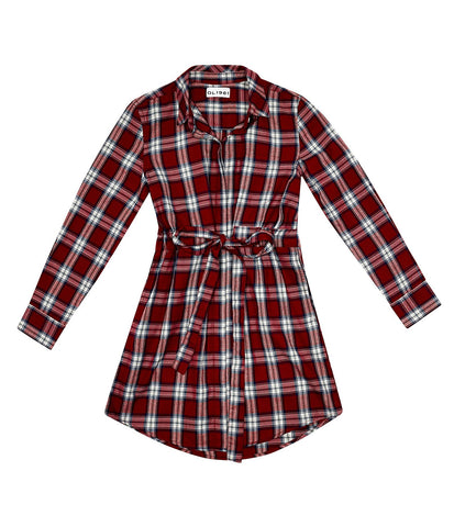 DL1961 Red Plaid Stella Belted Shirtdress
