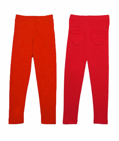 Lemon Loves Lime Girls True Red French Terry Pocket Leggings - Little Luna Blue