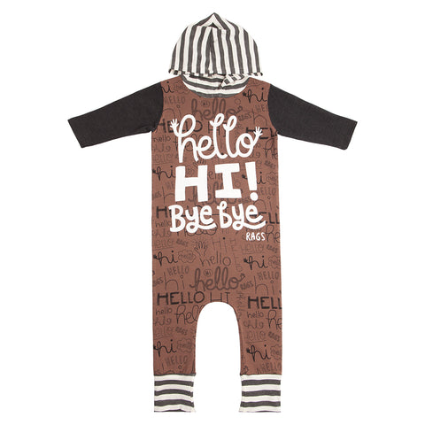 RAGS to Raches Hello Hi Bye Bye Brown Printed Hoodie Romper