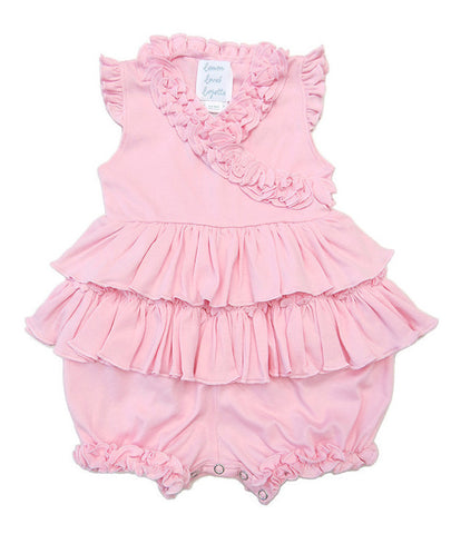 Lemon Loves Layette Rose Shadow Pink Lotus Romper