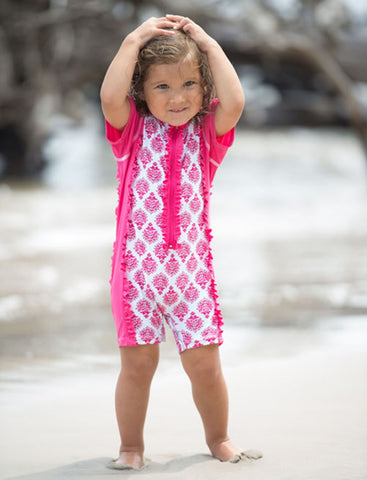 Cabana Life Pink Emblem Infant Rashguard Suit - Cute Designer Children's Clothing